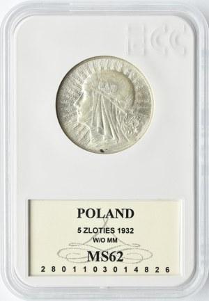 Polska, II RP, Głowa Kobiety, 5 złotych 1932, Warszawa, GCN MS62