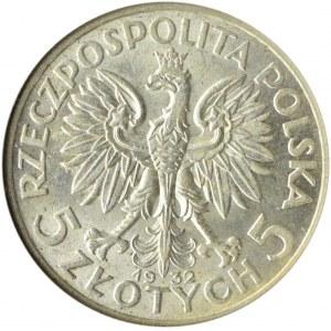 Polska, II RP, Głowa Kobiety, 5 złotych 1932, Londyn, GCN MS62