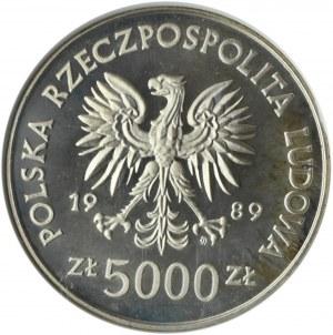 Polska, PRL, 5000 złotych 1989, Henryk Sucharski, PCG PR69