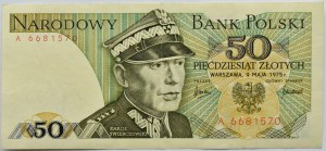 Polska, PRL, 50 złotych 1975, seria A - pierwsza seria, Warszawa
