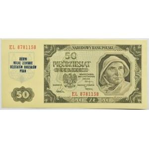Polska, RP, 50 złotych 1948, seria EL, okolicznościowy nadruk, PTAiN