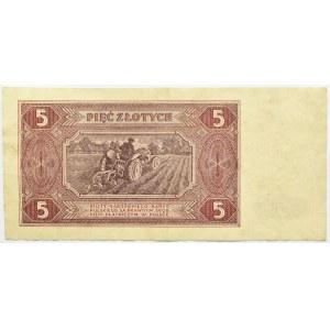 Polska, RP, 5 złotych 1948, seria F, rzadkie