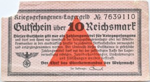 Uniwersalny Bon Obozowy, Kriegsgefangenen- Lagergeld, 10 marek, najwyższy nominał