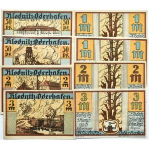 Klodnitz, Kłodawa, lot 8 notgeldów 50 pfennig - 3 marek 1921