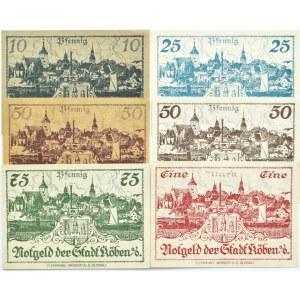 Koben, Chobienia, lot 6 notgeldów 10 pfennig - 1 marka 1920