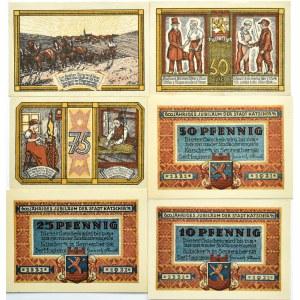 Katscher, Kietrz, lot 6 notgeldów 10 pfennigów -1 marka 1921