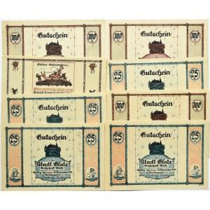 Glatz, Kłotzko, lot 8 notgeldów 25-100 pfennig 1921