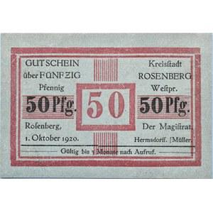 Rosenberg, Susz, 50 pfennigów 1920, UNC