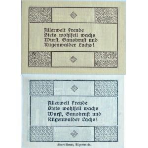 Rügenwalde, Darłowo, lot dwóch notgeldów 5 pfennig 1920