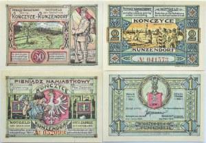 Kunzendorf, Kończyce, lot 4 notgeldów 1922, UNC