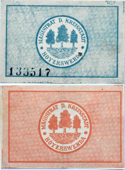 Hoyerswerda, okręg Budziszyn, lot 2 notgeldów 1919