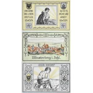 Münsterberg, Ziębice, lot 3 notgeldów 1921, UNC