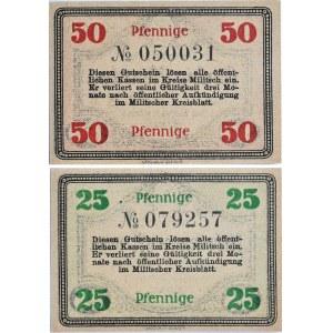 Militsch, Milicz, lot 2 notgeldów 1920, UNC