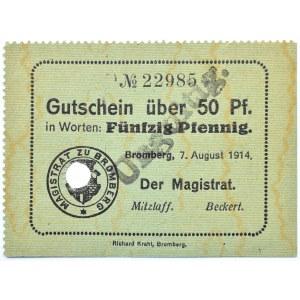 Bromberg, Bydgoszcz, Gutschein 50 pfennig 1914, numer 23985, UNC