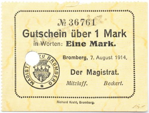 Bromberg, Bydgoszcz, Gutschein 1 marka 1914, numer 36761