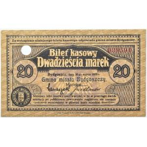 Bromberg, Bydgoszcz, 20 marek 1920, numer 039594, UNC, granatowy skasowany - wycena c.a.!!!!