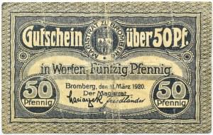 Bromberg, Bydgoszcz, znaczek wartościowy 50 fenigów 1920, granatowy