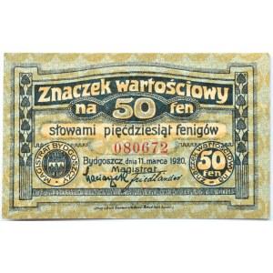 Bromberg, Bydgoszcz, znaczek wartościowy 50 fenigów 1920, granatowy, UNC