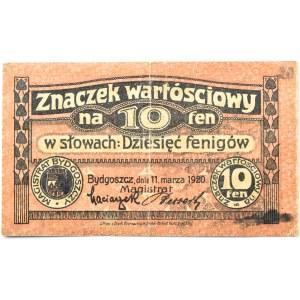 Bromberg, Bydgoszcz, znaczek wartościowy 10 fenigów 1920