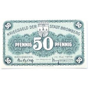 Bromberg, Bydgoszcz, Gutschein 50 pfennig 1919, UNC, szaroniebieski