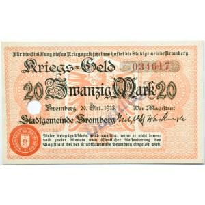 Bromberg, Bydgoszcz, 20 marek 1918, numer 034617, skasowany, UNC