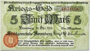 Bromberg, Bydgoszcz, 5 marek 1918, numer 467036, oliwkowy