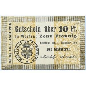 Bromberg, Bydgoszcz, Gutschein 10 pfennig 1916, kropka okragła, UNC