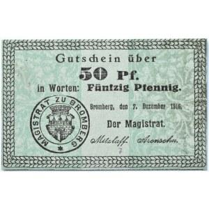 Bromberg, Bydgoszcz, Gutschein 50 pfennig 1916, UNC, odmiana 1.