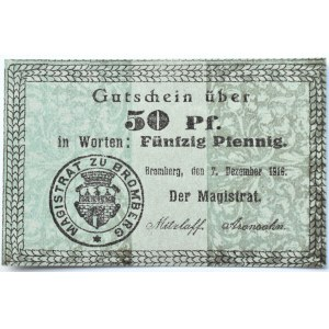 Bromberg, Bydgoszcz, Gutschein 50 pfennig 1916, UNC, odmiana 2.