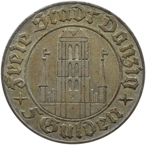 Wolne Miasto Gdańsk, 5 guldenów 1932, Kościół Mariacki, Berlin