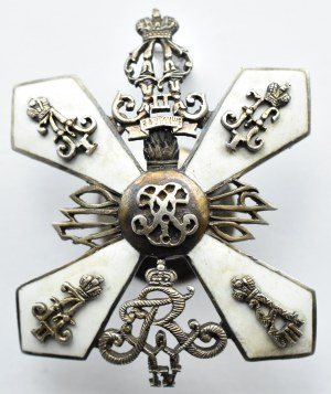 Rosja carska, odznaka pułkowa 3 Pernowski Pułk Grenadierów, srebro, emalia