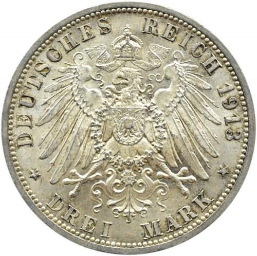 Niemcy, Prusy, Wilhelm II w mundurze, 3 marki 1913 A, Berlin, UNC