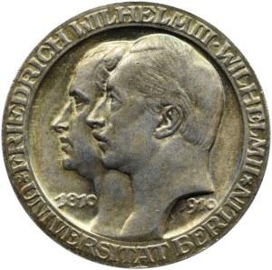 Niemcy, Prusy, Wilhelm II, 3 marki 1910 A, Berlin, 100-lecie Uniwersytetu we Berlinie, UNC