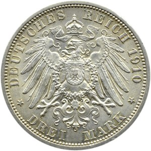 Niemcy, Saksonia, 3 marki 1910 A, Berlin, Wilhelm Ernest i Fedora, UNC