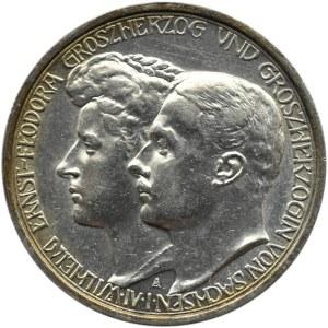 Niemcy, Saksonia, 3 marki 1910 A, Berlin, Wilhelm Ernest i Fedora