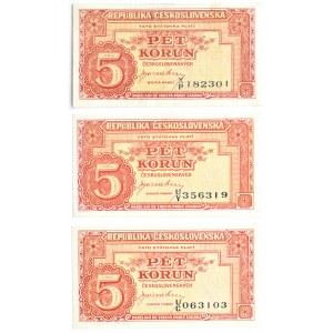 Czechosłowacja, lot 5 koron 1945, różne serie, Londyn, UNC