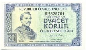 Czechosłowacja, 20 koron 1945, bez serii, Londyn, UNC