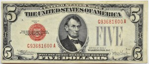 USA, 5 dolarów 1928, seria G, czerwona pieczęć