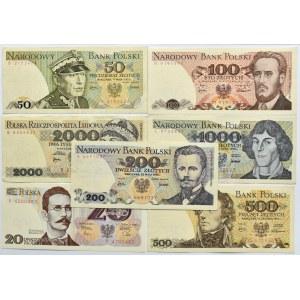 Polska, PRL, lot 7 banknotów 20-2000 złotych, Warszawa, same jednoliterowe serie