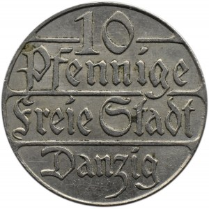 Wolne Miasto Gdańsk, 10 pfennig 1923, Berlin, piękne!