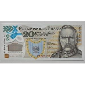 Polska, Józef Piłsudski, 20 złotych 2014 polimer, Warszawa, UNC