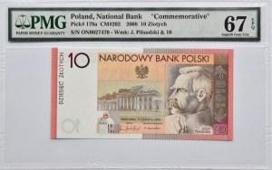 Polska, Józef Piłsudski, 10 złotych 2008, Warszawa, PMG67EPQ