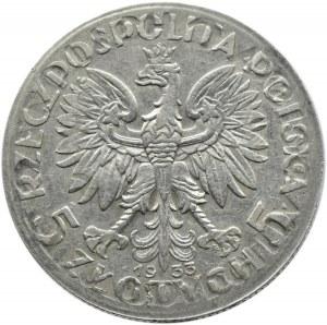 Polska, II RP, Głowa Kobiety, 5 złotych 1933, Warszawa, ciekawy destrukt