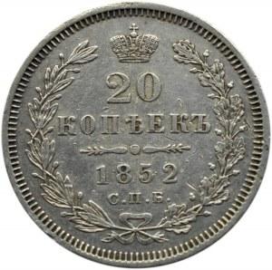 Rosja, Mikołaj I, 20 kopiejek 1852 PA, Petersburg