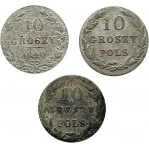 Mikołaj I, lot 10 groszy 1825-1840, Warszawa