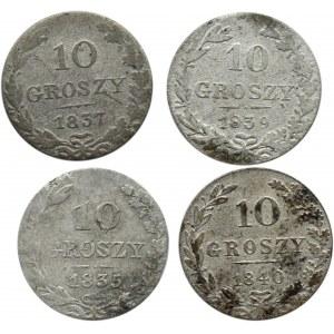 Mikołaj I, lot 10 groszy 1835-1840 MW, 4 sztuki, Warszawa