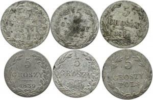 Mikołaj I, lot 5 groszy 1819-1840, 6 sztuk, Warszawa