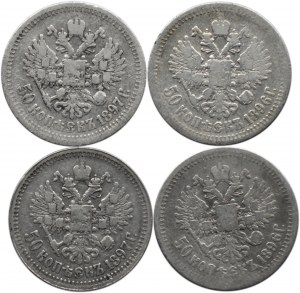 Rosja, Mikołaj II, lot srebrnych 50 kopiejek, 4 sztuki, Paryż/Petersburg