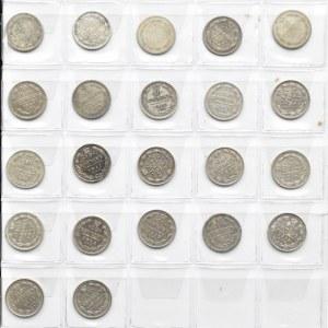 Rosja, Aleksander II-Mikołaj II, lot srebrnych 10 kopiejek 1861-1916, 22 sztuki