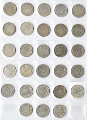 Rosja, Aleksander II-Mikołaj II, lot srebrnych 20 kopiejek 1862-1915, 28 sztuk